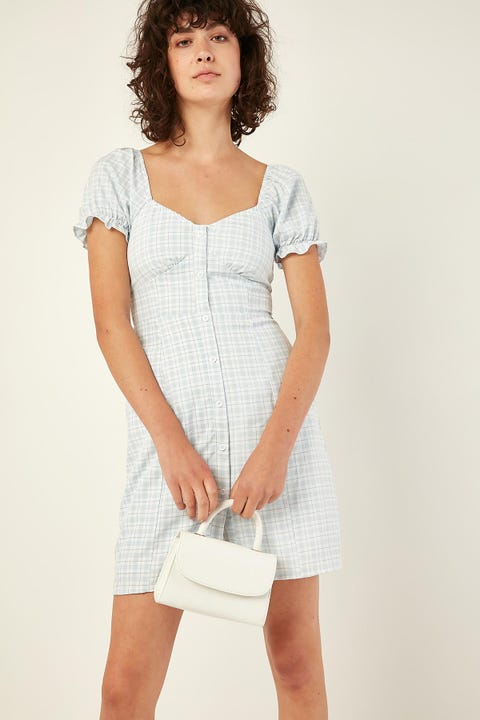 LUCK & TROUBLE Pastel Check Dress Blue Print