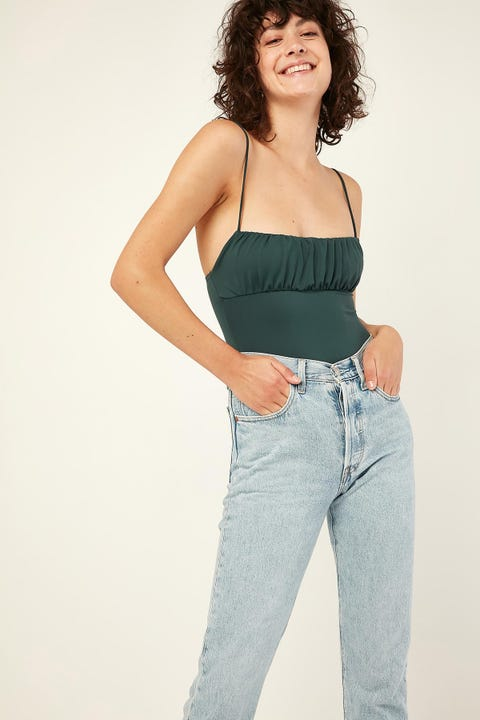 LUCK & TROUBLE Rouched Bodysuit Green