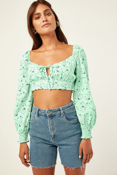 LUCK & TROUBLE Island Time Top Green Print