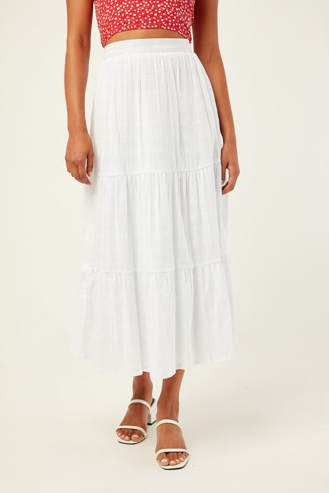 LUCK & TROUBLE Seashore Midi Skirt White