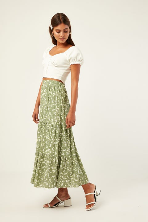 LUCK & TROUBLE Gisele Floral Midi Skirt Green Print