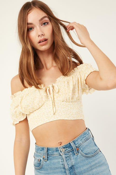 LUCK & TROUBLE Off Shoulder Floral Top Yellow Print
