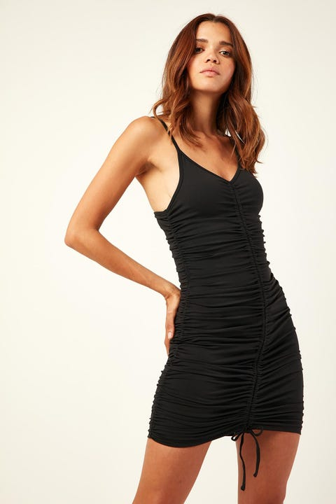 LUCK & TROUBLE Weekend Vibes Mini Dress Black