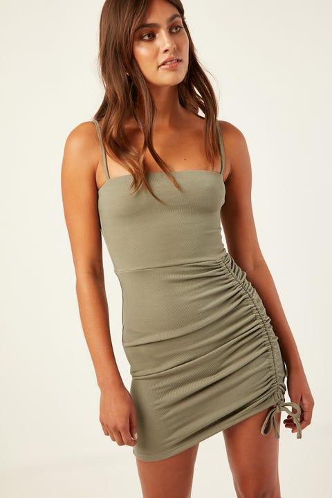 PERFECT STRANGER Caribbean Mini Dress Khaki