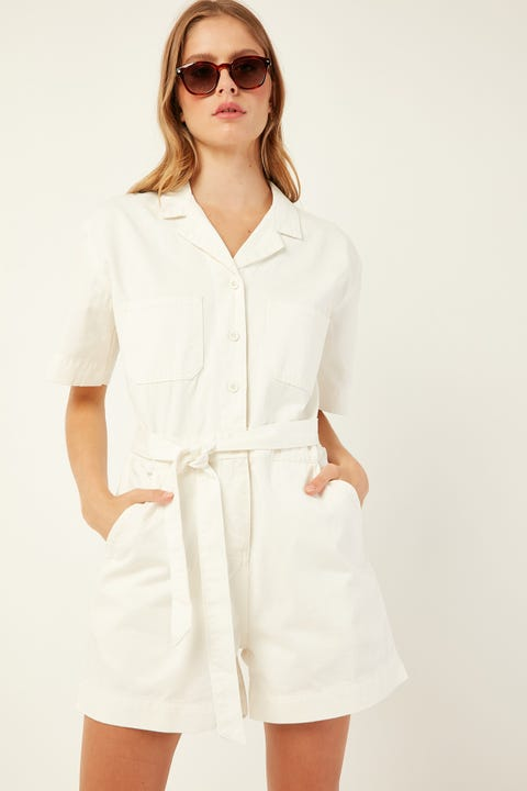 ASSEMBLY Levy Playsuit Vintage White