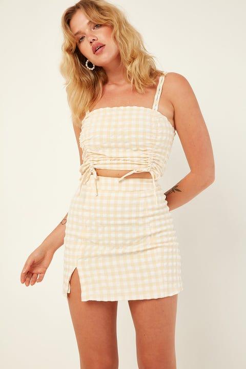 PERFECT STRANGER Check Mate Mini Skirt Yellow Print