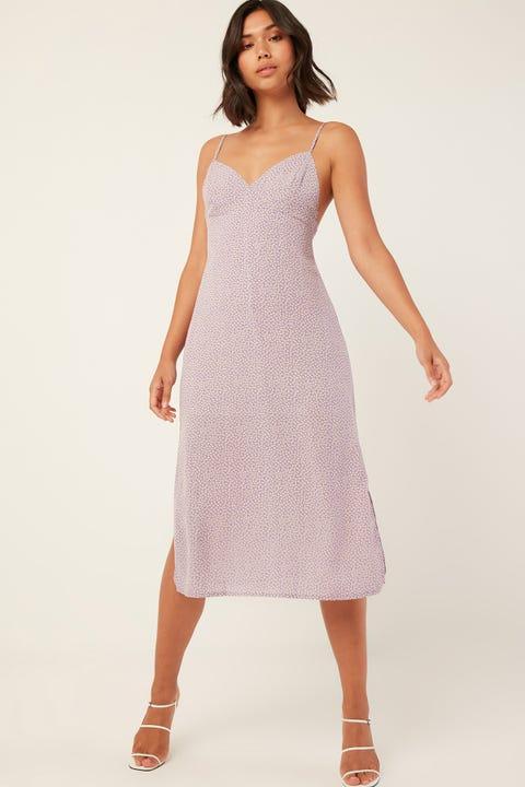PERFECT STRANGER Dahlia Midi Dress Purple Print