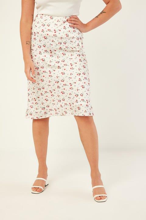 PERFECT STRANGER Lily Midi Slip Skirt White Print
