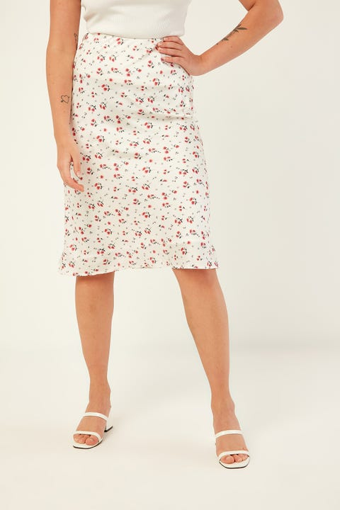 Perfect Stranger Lily Midi Slip Skirt White Print