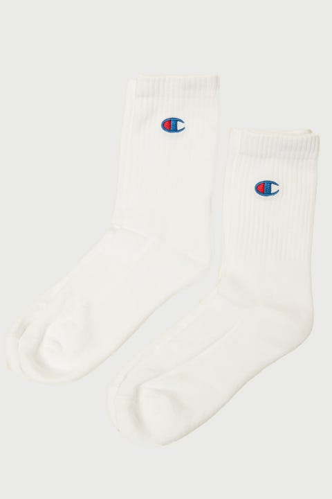 Champion C Logo Crew Sock 2 Pack White