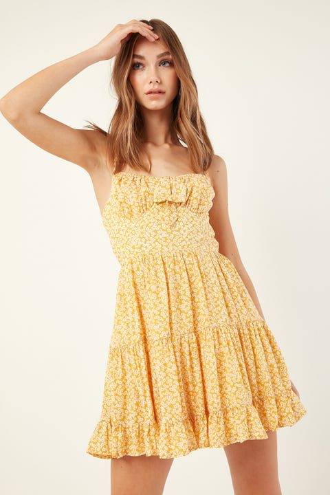 LUCK & TROUBLE Summery Floaty Dress Yellow Print