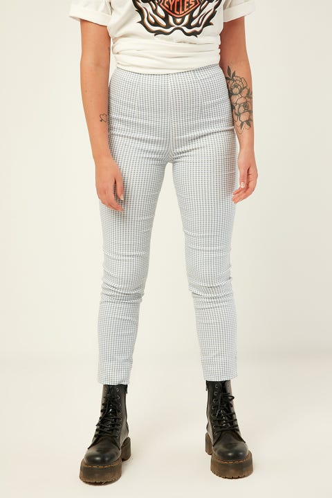 LUCK & TROUBLE Gingham Pant Blue