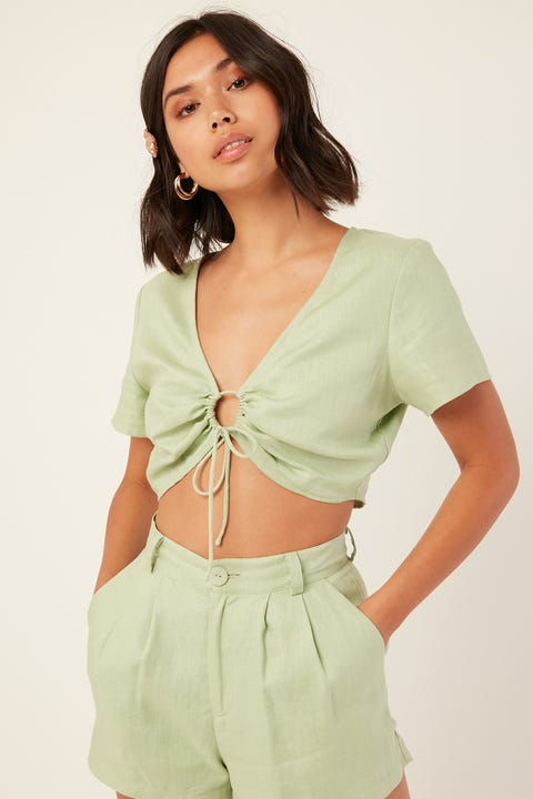 PERFECT STRANGER Good Vibes Tie Front Top Green