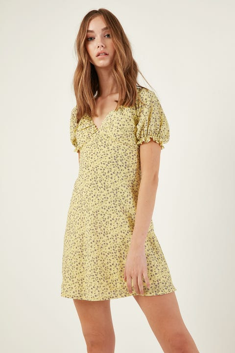 LUCK & TROUBLE Pippa Floral Dress Yellow Print