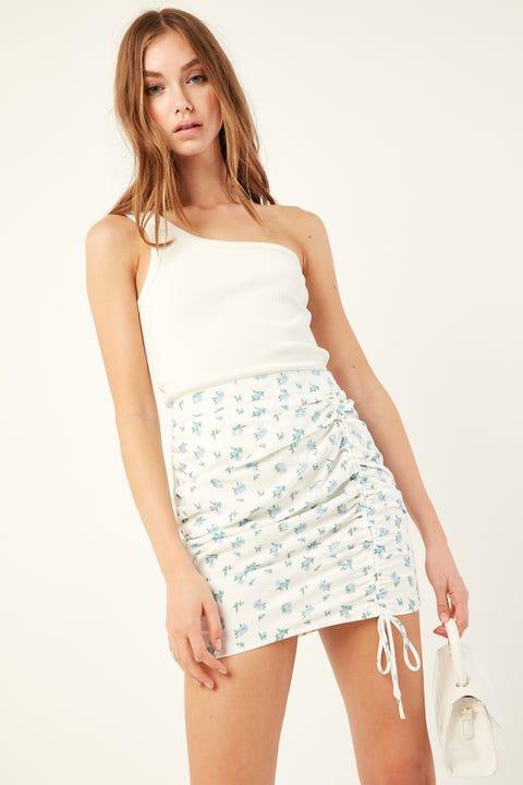 Luck & Trouble Honesty Mini Skirt White Print