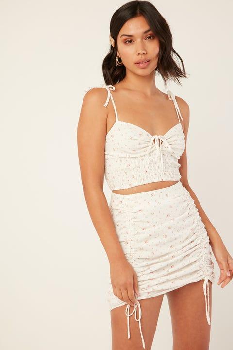 PERFECT STRANGER Caught Up Cinch Skirt White Print