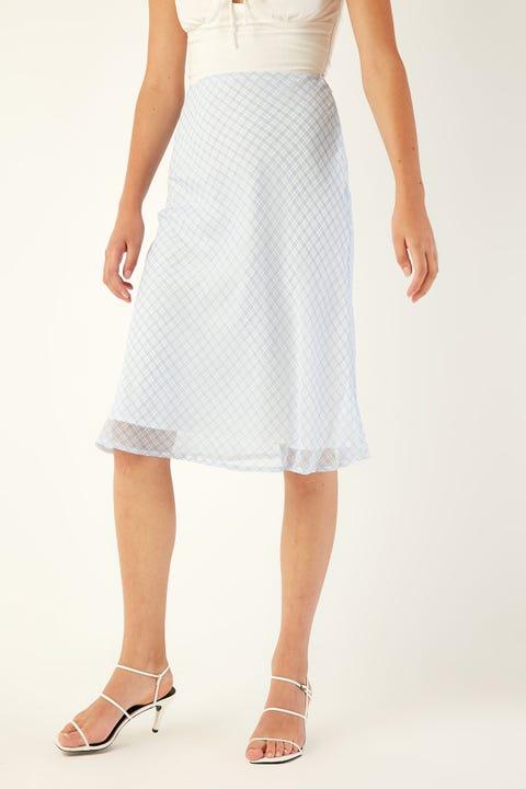 PERFECT STRANGER Hamptons Check Midi Skirt Blue Print