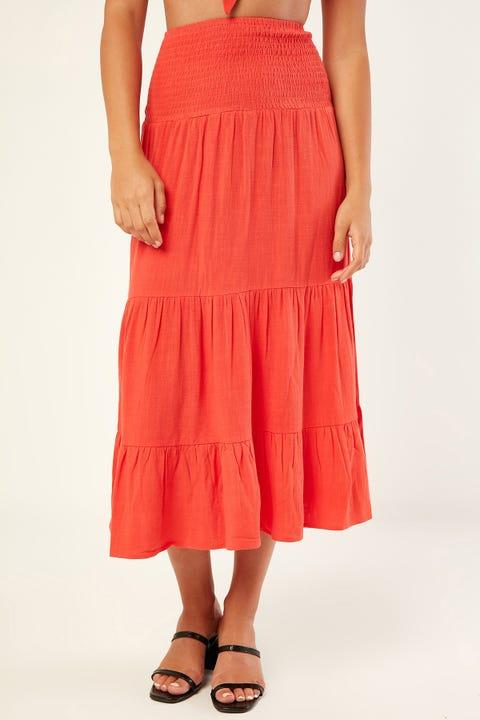 PERFECT STRANGER Crush On Me Midi Skirt Red