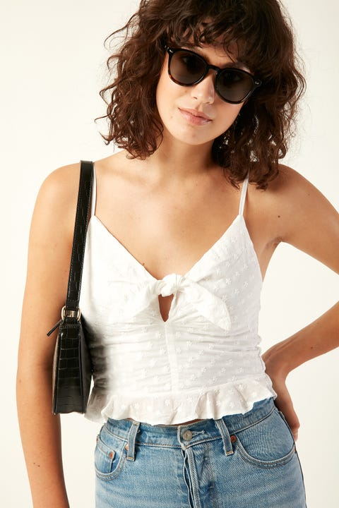 LUCK & TROUBLE Broiderie Daisy Top White