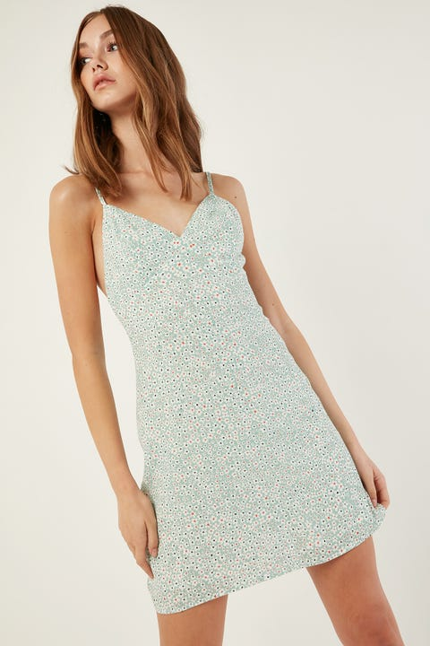LUCK & TROUBLE Primrose Mini Dress Green Print