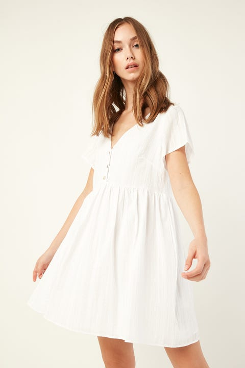 LUCK & TROUBLE Button Front Tranquil Dress White