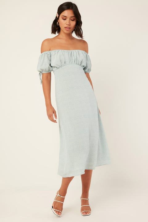Luck & Trouble With Ease Midi Dress Blue Print