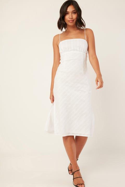 PERFECT STRANGER Checked Midi Dress White Print