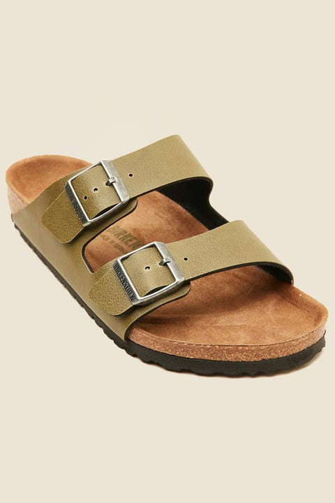 BIRKENSTOCK Womens Arizona Birko-Flor Pull Up Vegan Footbed Olive