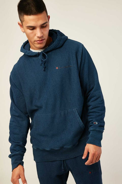 Champion Reverse Weave Rebound Terry Hoodie Indigo Washed