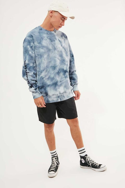 Champion Reverse Weave Cloud Dye Crew Cloud Dye Denim Blue