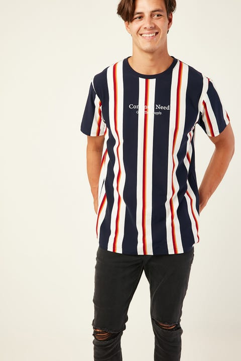 Common Need Regeneration Stripe Tee Navy/White/Red