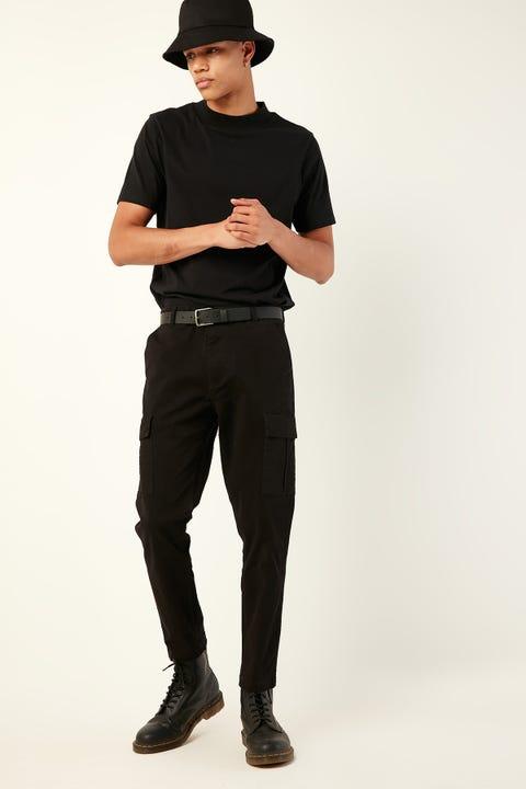 COMMON NEED Slim Cargo Pant Black