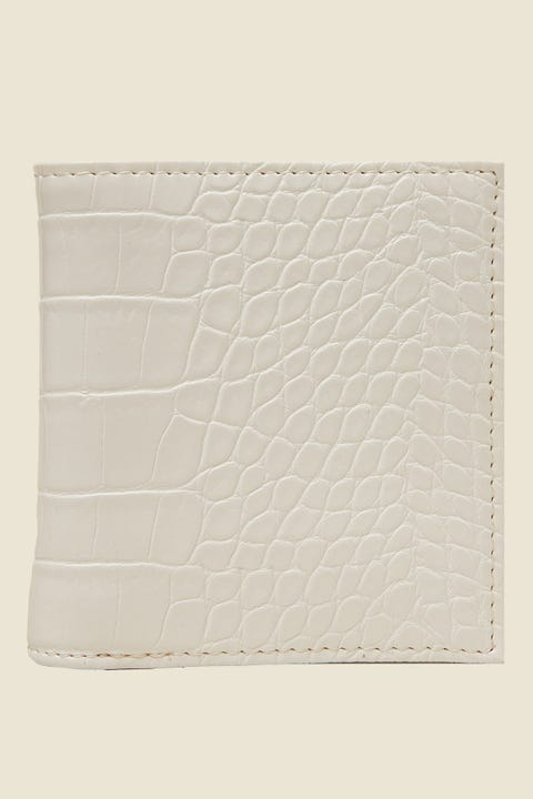 TOKEN Fold Over Croc Wallet White