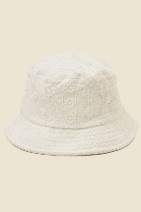 TOKEN Broiderie Bucket Hat White