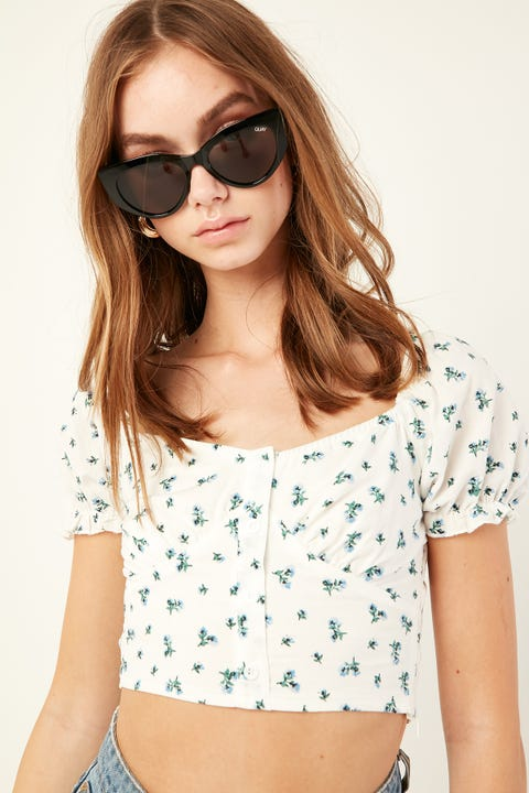 LUCK & TROUBLE Lost Soul Top White Print