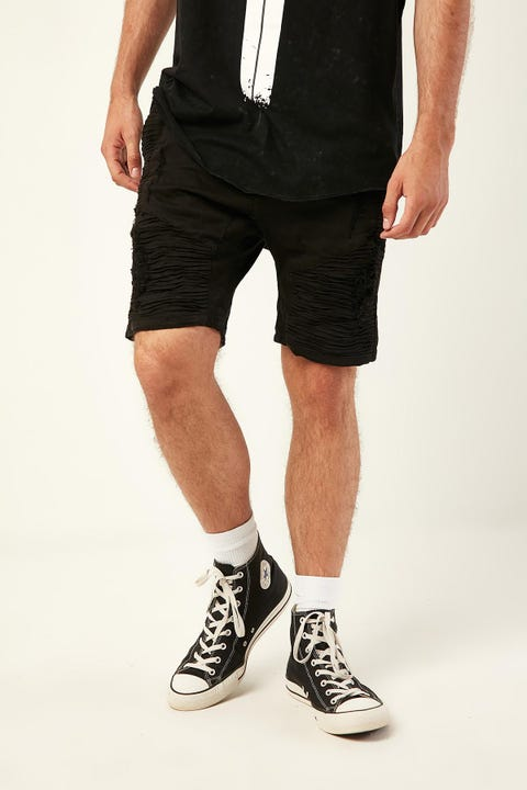 KISS CHACEY Zeppelin Denim Short Destroyed Solid Black
