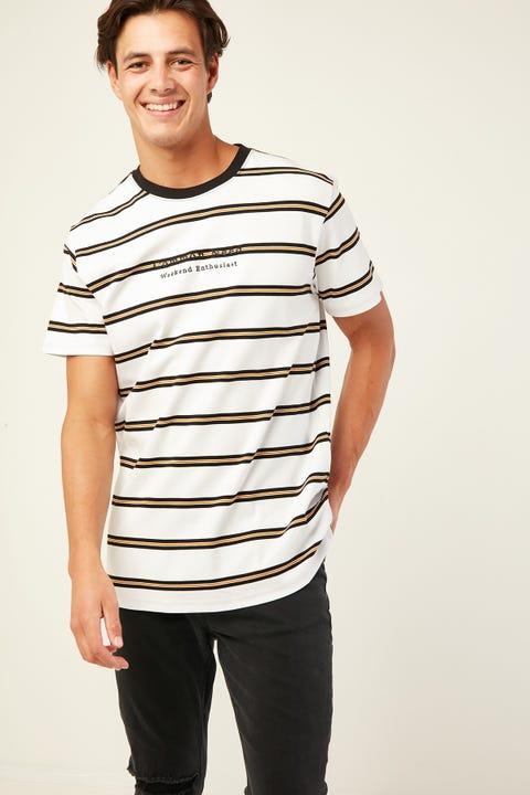 COMMON NEED Borough Tee White/Black/Gold Stripe