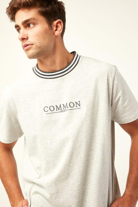 COMMON NEED Static Ringer Tee Grey Marle