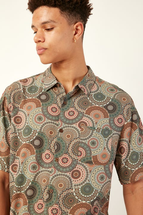 COMMON NEED Chameleon Party Shirt Teal/Earth