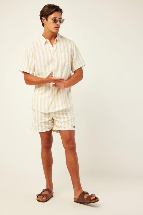 COMMON NEED Villa Soft Linen Stripe Shirt Ecru Stripe