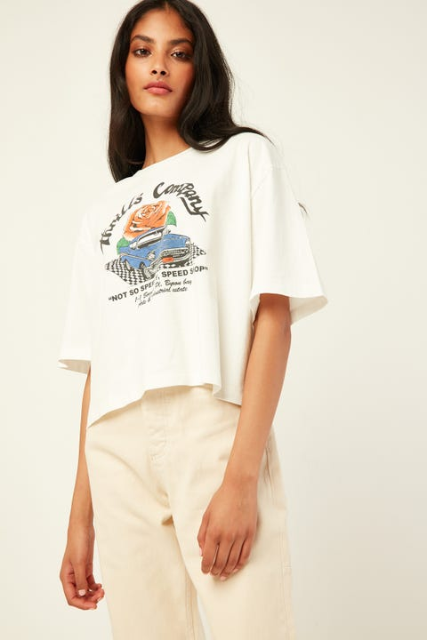 THRILLS Not So Speedy Merch Crop Tee Dirty White