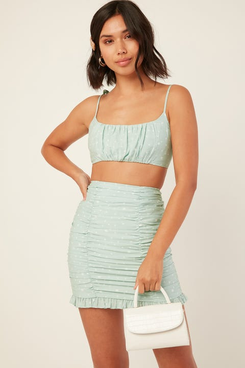Luck & Trouble Ocean Eyes Crop Top Green Print