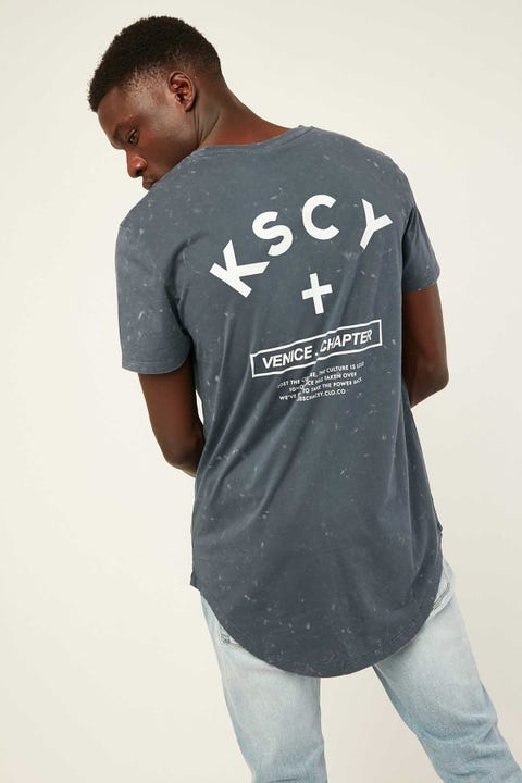 KISS CHACEY Venice Chapter Baseball Tee Acid Navy