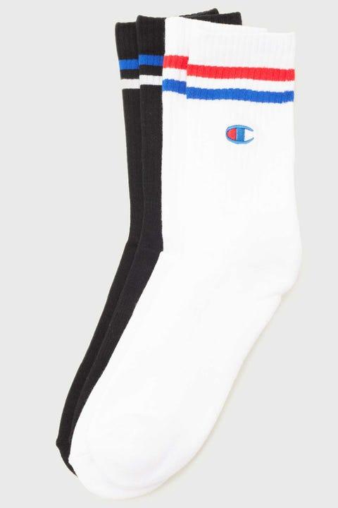 Champion Branded Crew Sock 2 Pack White/Black
