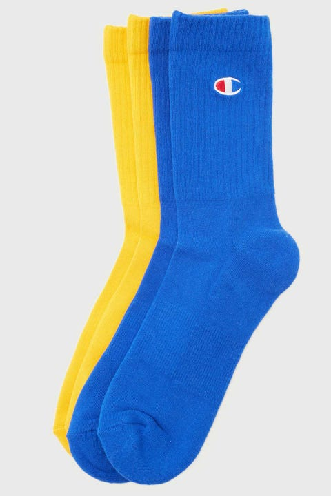 Champion C Logo Crew Sock 2 Pack C Gold/Surf The Web