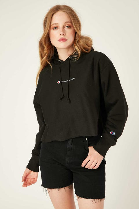Champion Reverse Weave Cropped Terry Hood Black