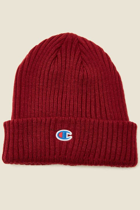 Champion C Logo Ribbed Beanie Sepia Red