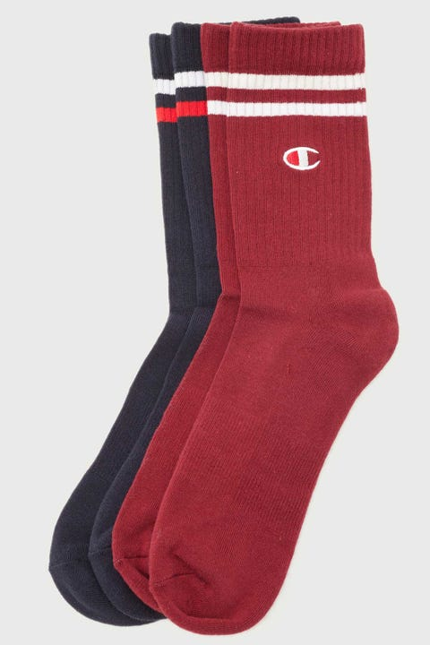 Champion Branded Crew Sock 2 Pack Navy/Sepia Red