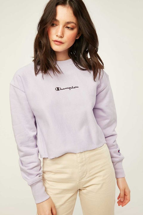 Champion Reverse Weave Cropped Terry Crew Lilac Wash