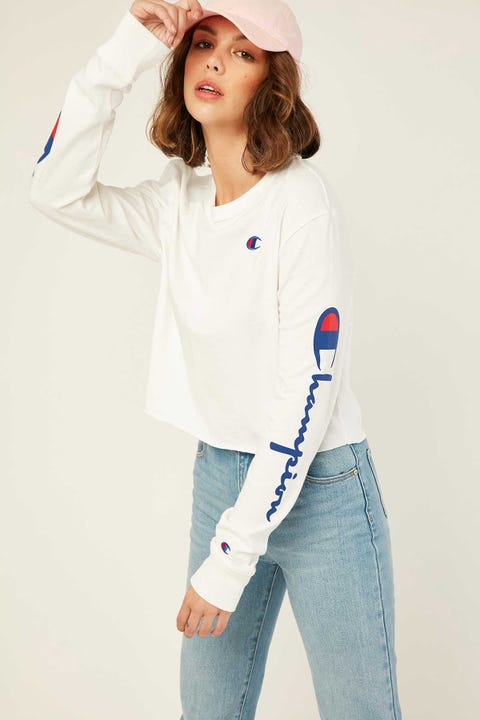 Champion Cropped Long Sleeve BF Tee White